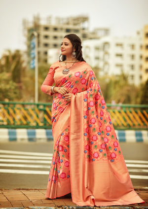 BAGOON BEL - Orange Silk Saree