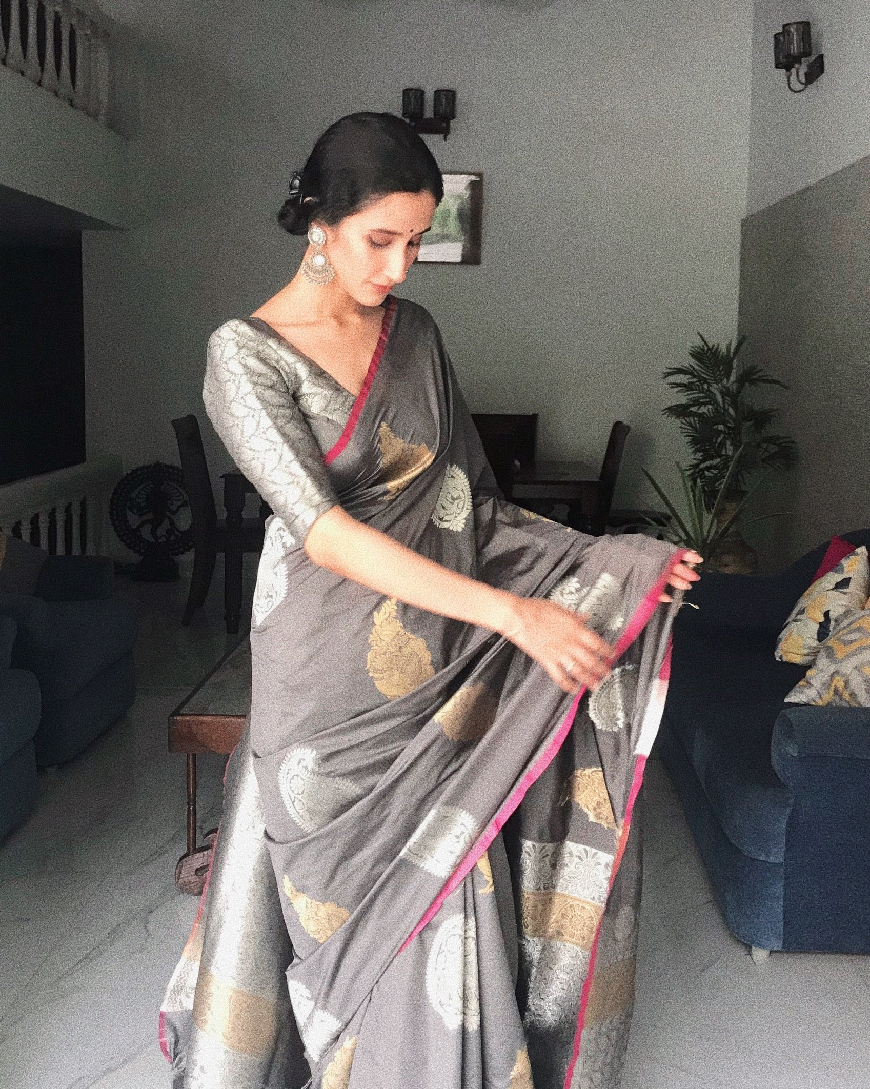 Gaj Shyamkanth - Grey Silk Woven Saree