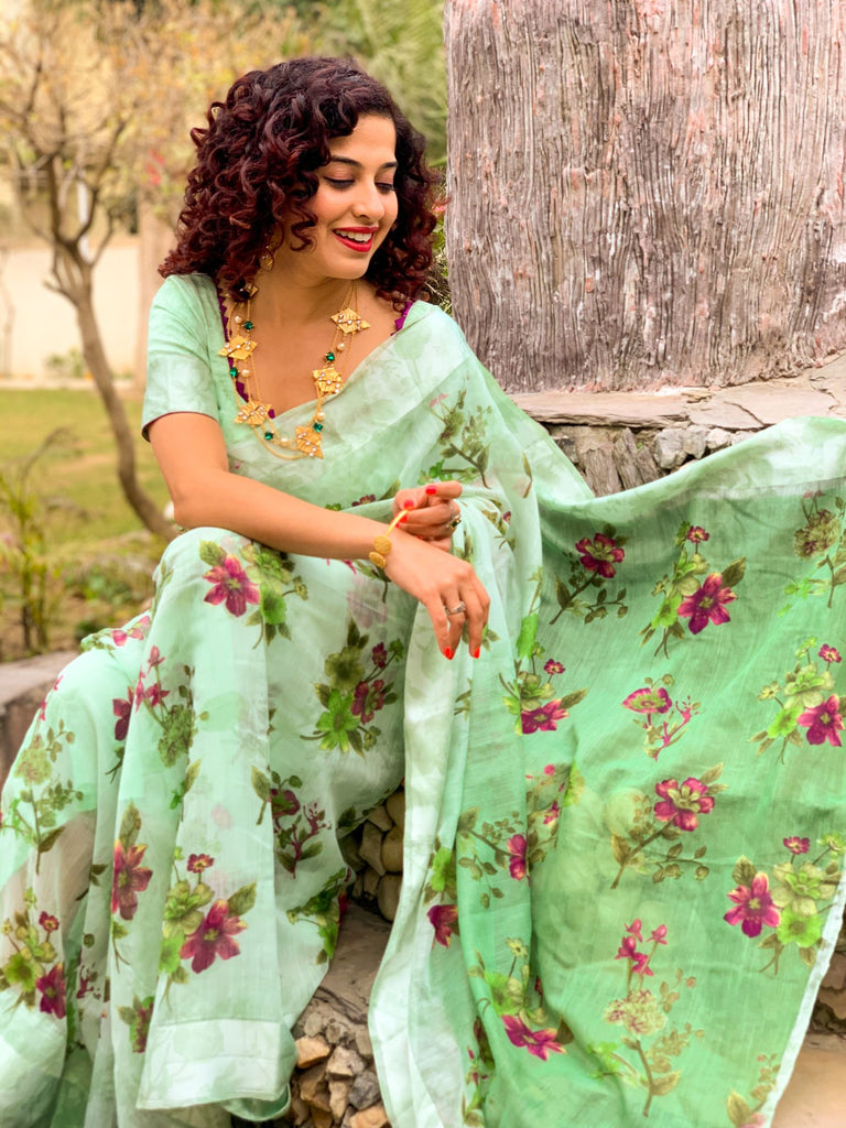 Sugandhim - Light Green Chiffon Saree