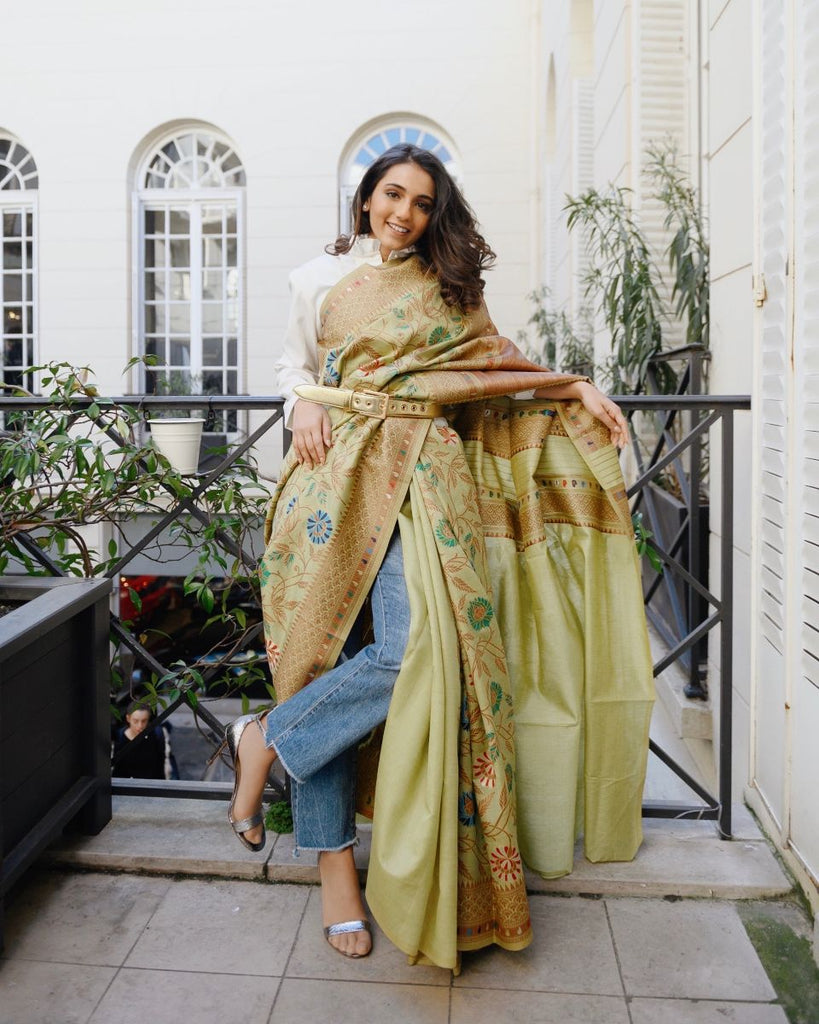 Alparambha - Pista Green Silk Saree