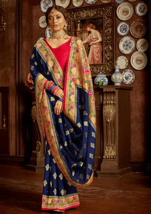 PANCH POOLI - Blue Silk Saree