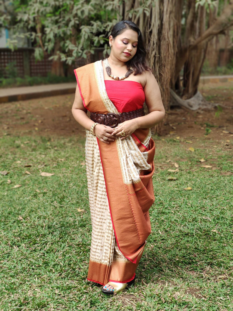 Kamal Nayanam - Cream Poly Cotton Saree