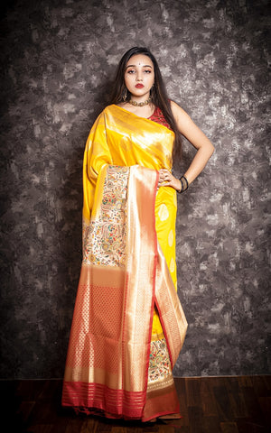 Madhur Van - Silk Yellow Silk Woven Saree