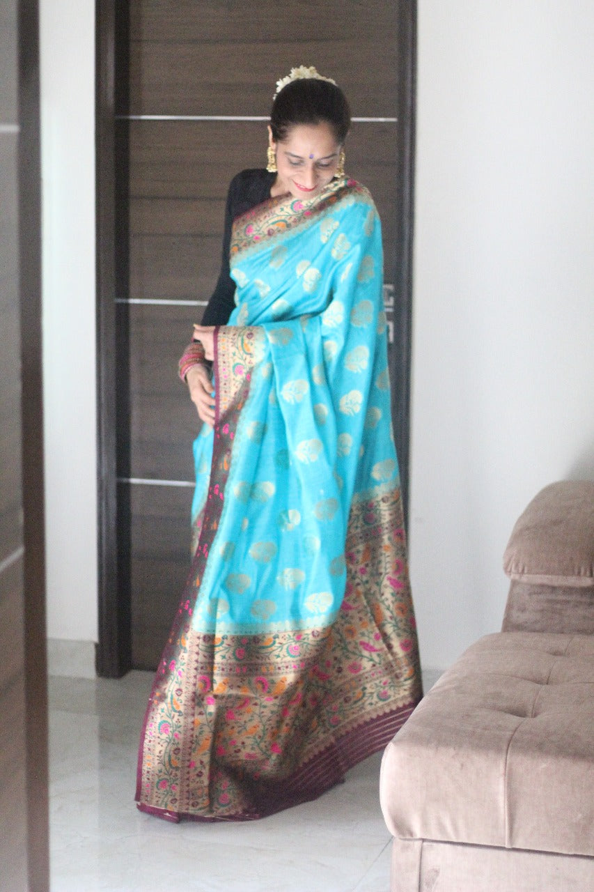 Roop Sampatti - Blue Silk Woven Saree