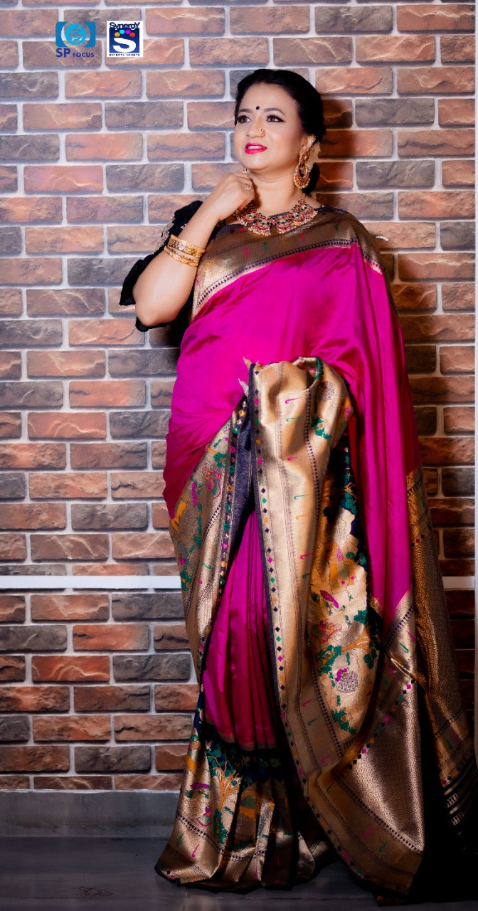 Gavya Shala - Purple Silk Woven Saree