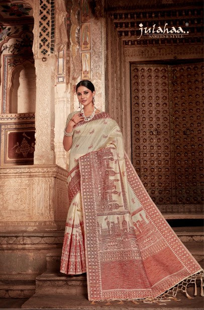 Shlokaa 2 - Cream and Red Jamdani Woven Saree