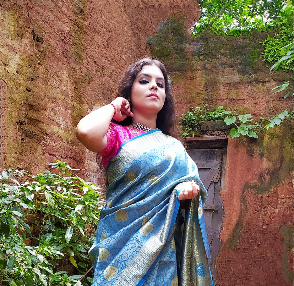 Prafullam - Bright Blue Silk Woven Saree