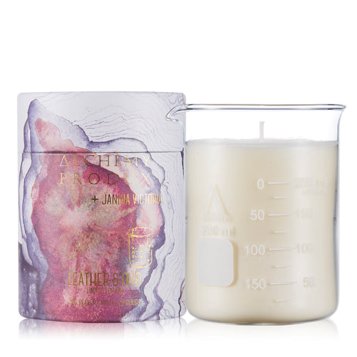 210gram Beaker Candle - Leather & Oud