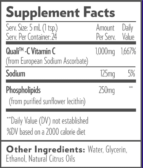 Quicksilver Scientific Liposomal Vitamin C 120 mL ingredients