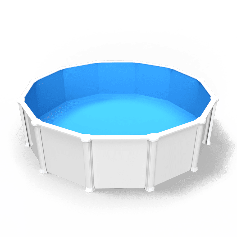 Crystal Blue Overlap Pool Liner in a Round Above Ground Swimming Pool