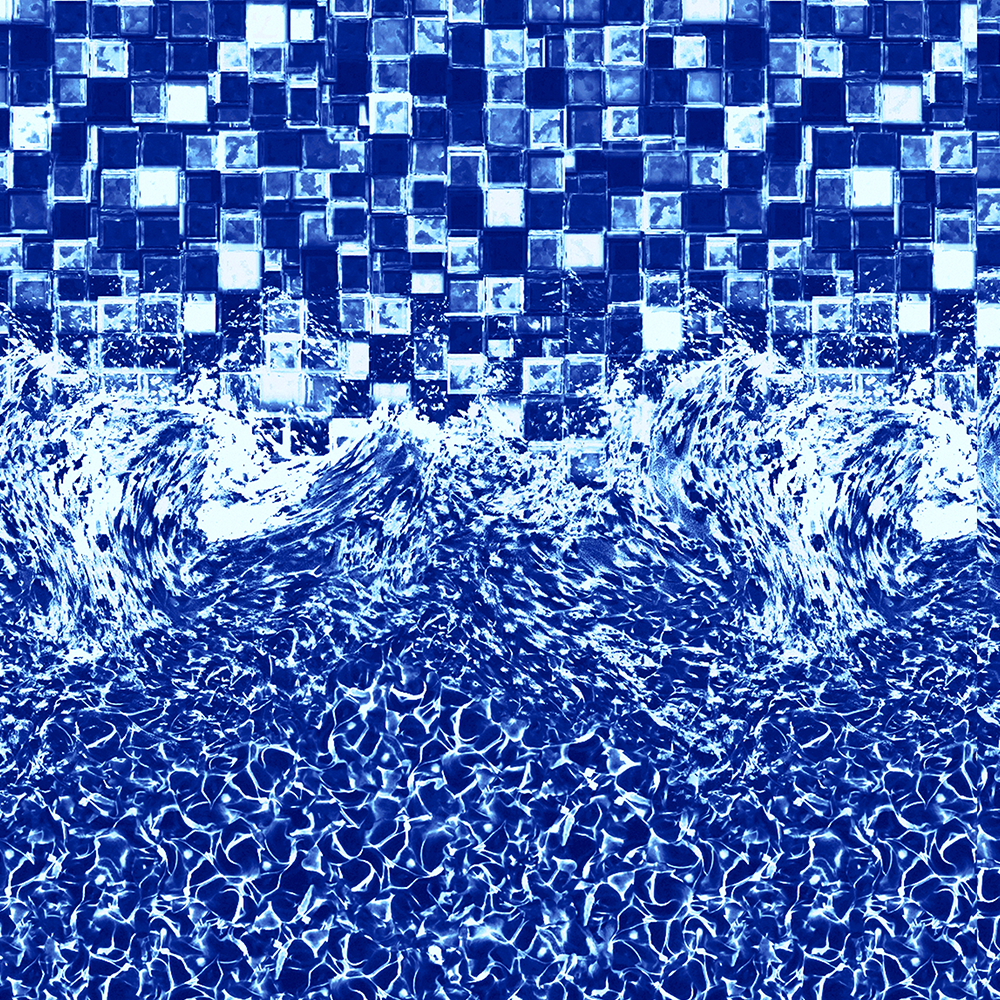 Glimmerglass round expandable pool liner with a blue tile pattern.