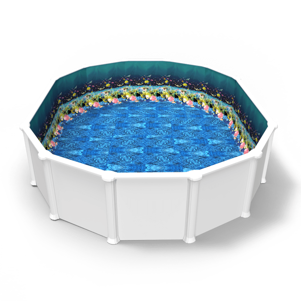 Great Barrier Reef Beaded Pool Liner in an Oval Above Ground Swimming Pool