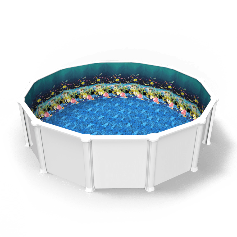 Great Barrier Reef Overlap Pool Liner in a Round Above Ground Swimming Pool