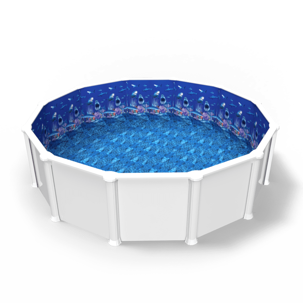 Shark Nation Overlap Pool Liner in a Round Above Ground Swimming Pool