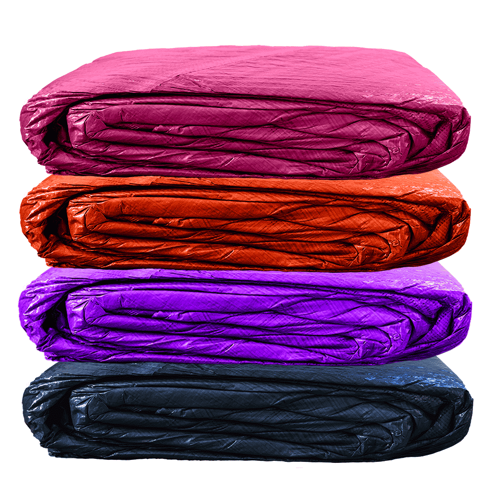 Sturdy Man Pool Covers in Pink, Orange, Purple, and Blue