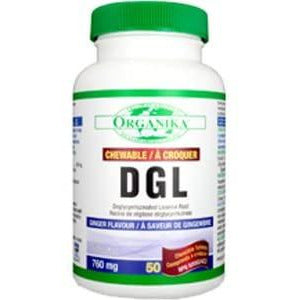 Organika Chewable Dgl (deglycyrrhizinated Licorice) 760mg 50 Tablets Flavour