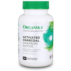 Organika Activated Charcoal- Homeopathic, Detox, Digestive Aid- 90 vcaps