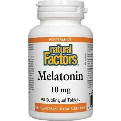 Natural Factors Melatonin 10 mg Peppermint, 90 Tablets