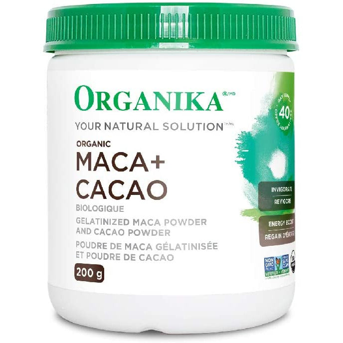 Organika Certified Organic Maca-Cacao Powder- Gelatinized for Better Absorption-Energizing, Libido, Adaptogen, Hormone Balance 200 g