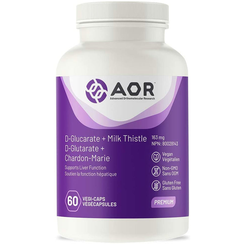 AOR - D-Glucarate + Milk Thistle 60 Capsules - Promotes Detoxification