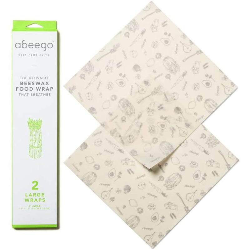 "Abeego, The Original Beeswax Food Storage Wrap - Set of Two 13"" Natural Square Sheets"