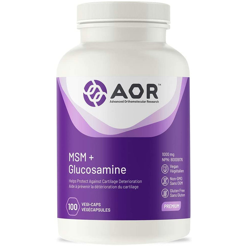 AOR - MSM + Glucosamine 100s Capsules - Helps Protect Against Cartilage Deterioration