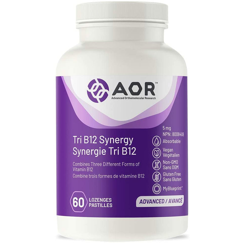 AOR - Tri B12 Synergy 60 Lozenges - Combines Three Different Forms of Vitamin B12