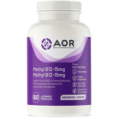 AOR - Methyl B12-15 mg 60 Lozenges - Superior Form of B12 to Prevent Deficiency