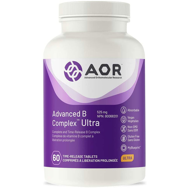 AOR - Advanced B Complex Ultra 60 Tablets - Award-winning formula plus brain support, in a time-release tablet