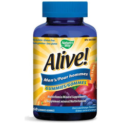 Nature's Way Alive! Men's Gummies Multivitamin, No Gelatin, Gluten-free, Cherry and Orange Flavours, 60 Gummies