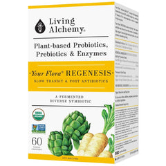 Living Alchemy Your Flora Regenesis - Constipation (Slow Transit) & Post-Antibiotics, healthy digestion, constipation relief, prebiotic fibre, increase bile flow, aids with weight loss; Organic Artichoke & Chicory, Fermented Soybean, Liver Function, Immu