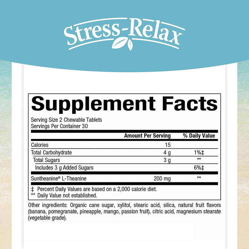 Stress-Relax Chewable Suntheanine L-Theanine 100 mg by Natural Factors, Non-Drowsy Stress Support for Mental Calmness and Relaxation, Tropical Fruit Flavor, 60 tablets (30 servings)