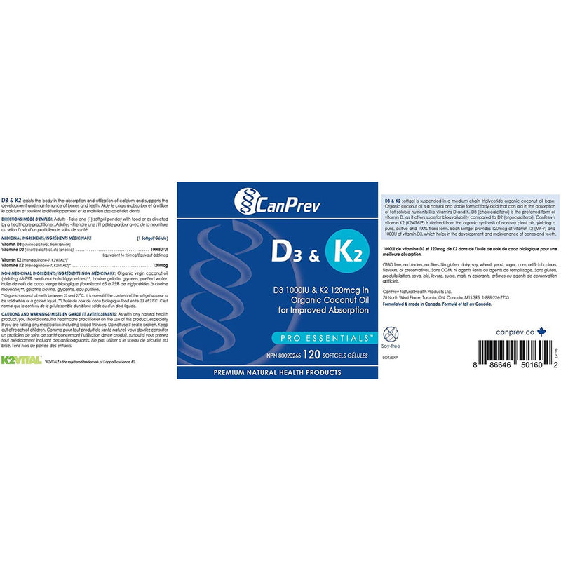 CanPrev D3 & K2 - Organic Coconut Oil (120 softgels)