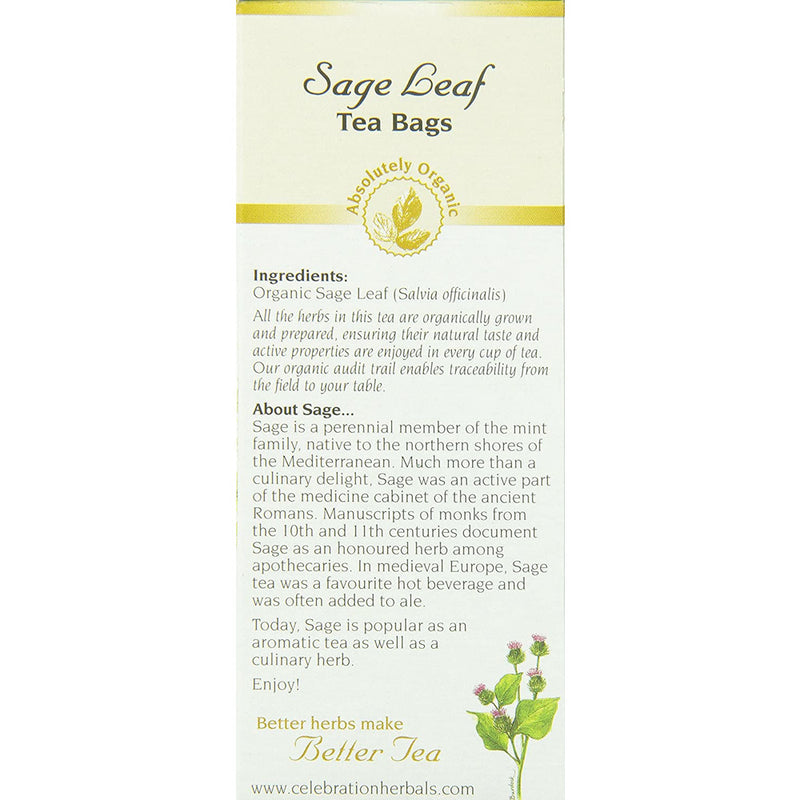 Celebration Herbals Sage Leaf Tea Organic 24 Tea Bag, 24Gm