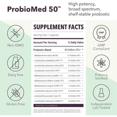Designs for Health - ProbioMed 50 Billion CFU - High Potency Shelf Stable Probiotic, 30 Capsules