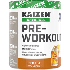 Kaizen Naturals Pre-Workout Powder, NSF Certified, Iced Tea, 30 Servings