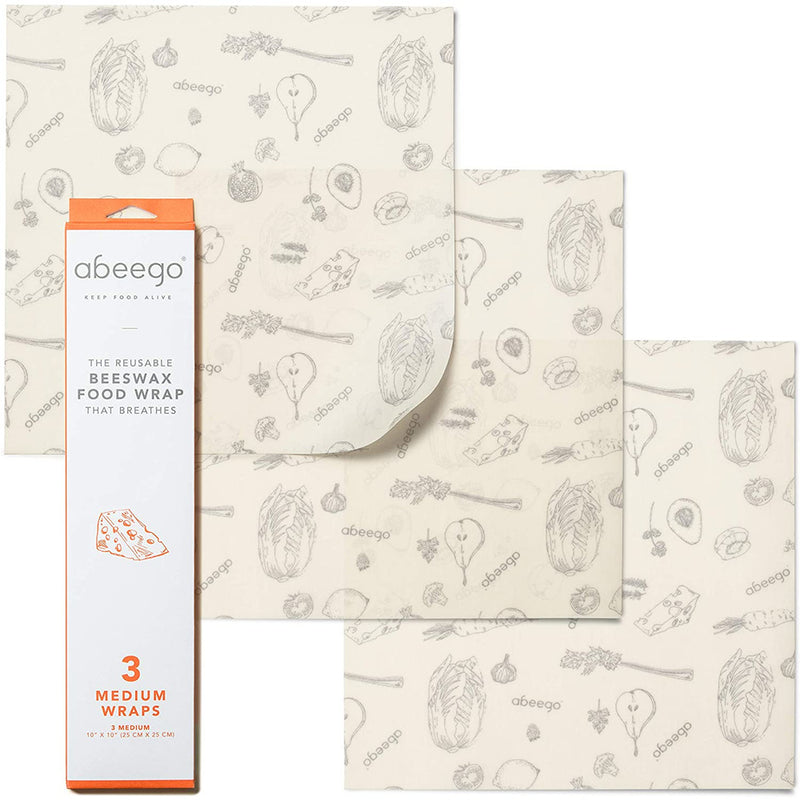 "Abeego, The Original Beeswax Food Storage Wrap - Set of Three 10"" Natural Square Sheets"