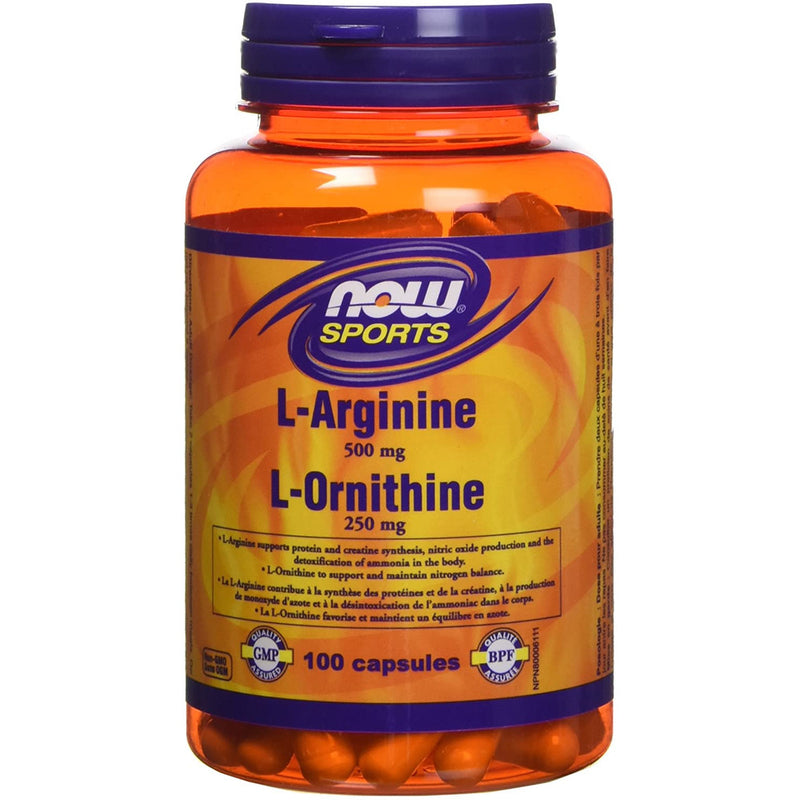 NOW L-Arginine/Ornithine Capsules, 100 Count