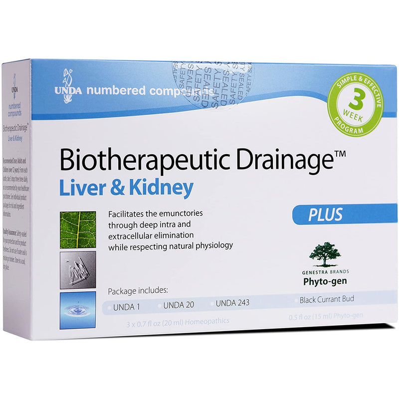 UNDA - Biotherapeutic Drainage - Liver & Kidney Support - UNDA 1, UNDA 20, UNDA 243 & Black Currant Bud - 1 Package