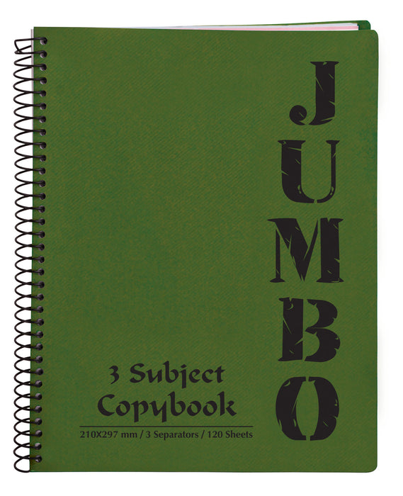 A4 Jumbo Notebook Olive Green ( 3, 5 Subjects )
