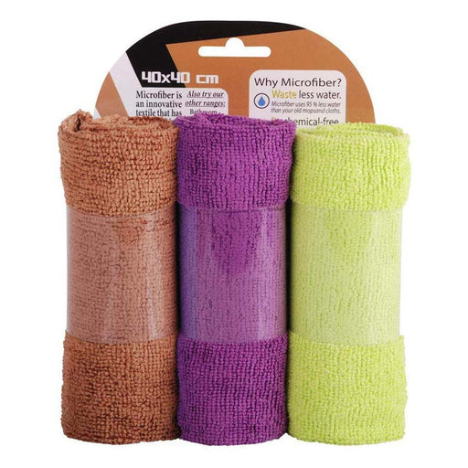 3 Pack Terry Microfiber Towel mintra-shop.myshopify.com Brown-Purple-Green