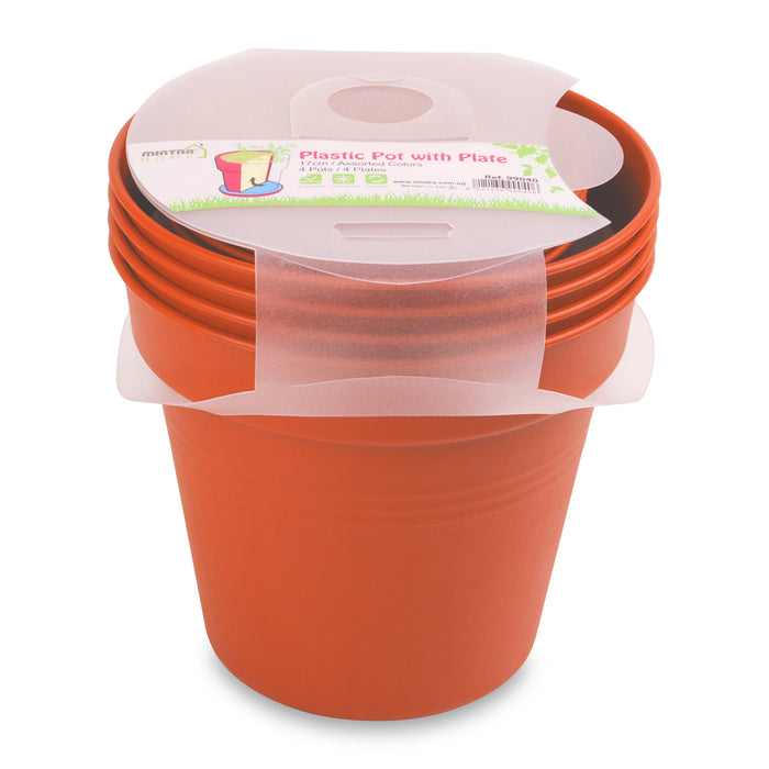 Round Pot 17cm (Pack of 4) mintra-shop.myshopify.com Orange