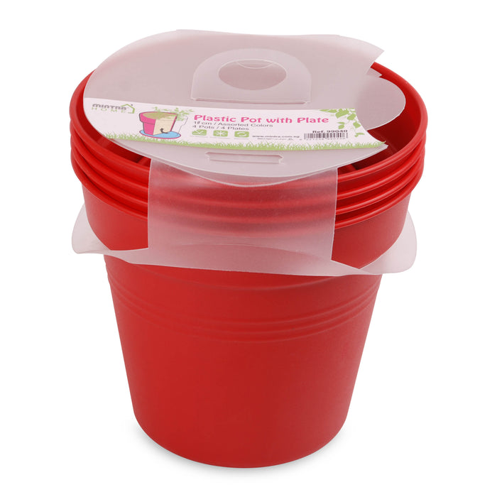 Round Pot 13 cm (Pack of 4) mintra-shop.myshopify.com Red