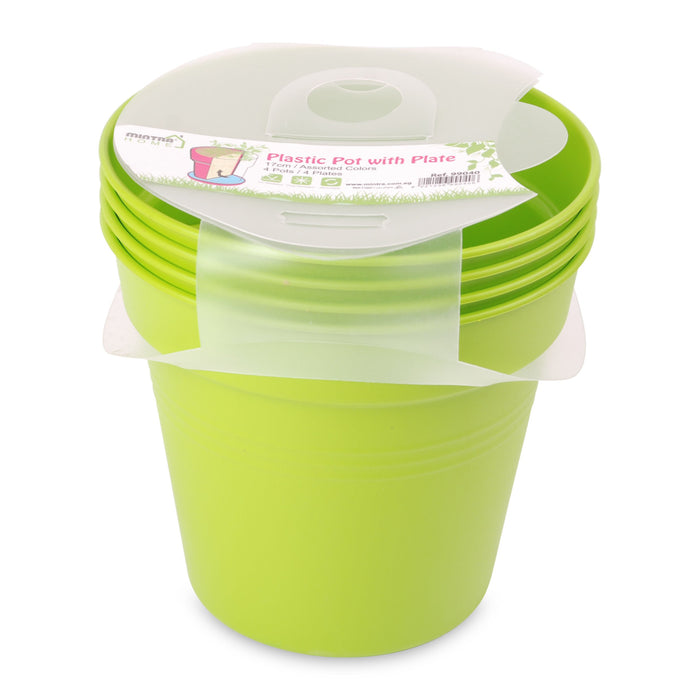 Round Pot 17cm (Pack of 4) mintra-shop.myshopify.com Light Green