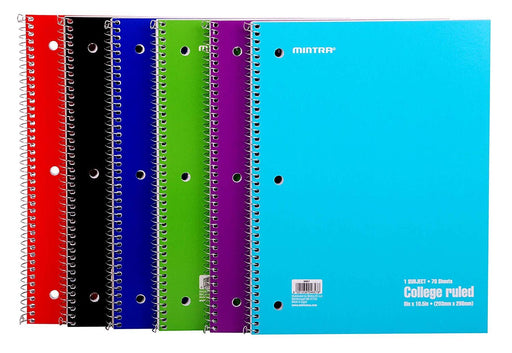 Spiral Notebook -  Carton Cover Solid Colours (70 count, 6 Pack)