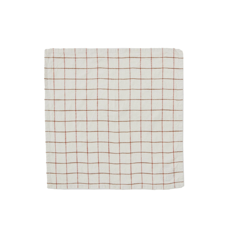 OYOY Living Design - OYOY LIVING Grid Slub Napkin - Pack of 2 Napkin 102 Offwhite / Red ?id=17048348098640