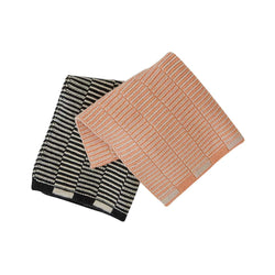OYOY Living Design - OYOY LIVING Stringa Dishcloth - 2 Pcs/Set Dish Cloth & Mini Towel 408 Coral / Anthracite