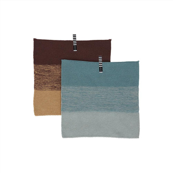 OYOY Living Design - OYOY LIVING Dish Cloth Niji - 2 Pcs/Set Dish Cloth & Mini Towel 601 Blue / Brown