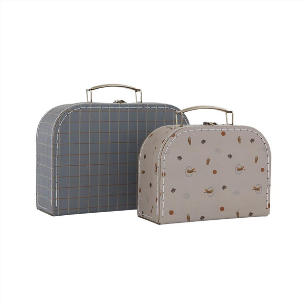 OYOY Living Design - OYOY MINI Suitcase Mini Tiger & Grid - Set of 2 Storage 601 Blue / Clay