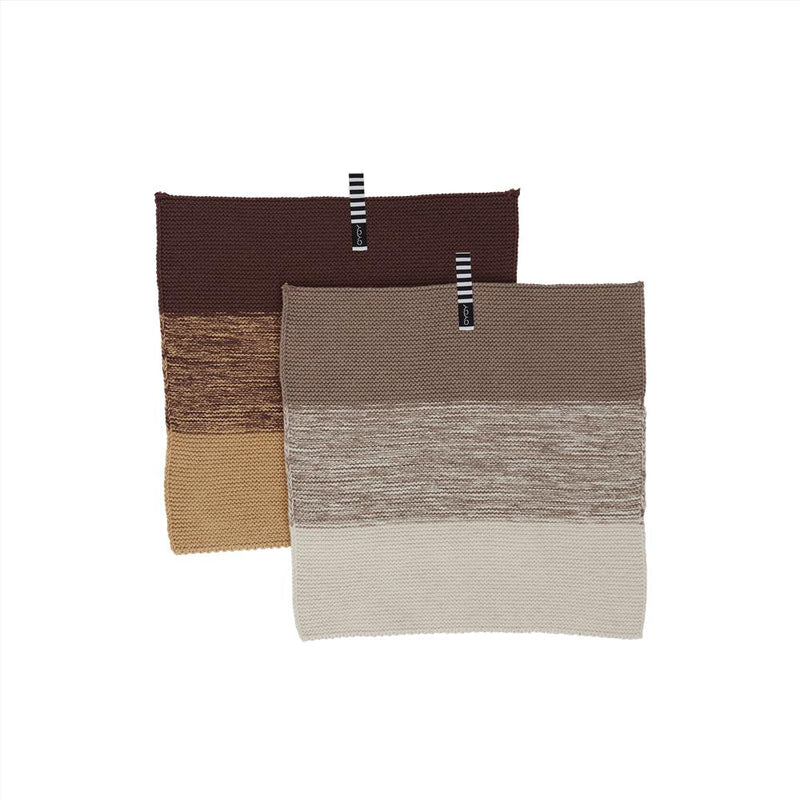 OYOY Living Design - OYOY LIVING Dish Cloth Niji - 2 Pcs/Set Dish Cloth & Mini Towel 301 Brown / Clay ?id=16169094709328